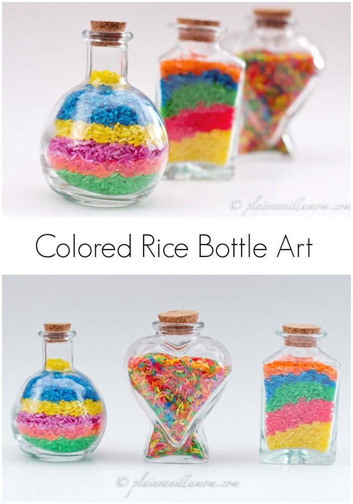Colored Rice Bottle Art Colored Rice Cute Kids Crafts