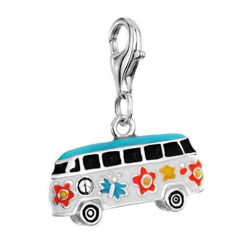 Sterling Silver Jewelry - hippie flower bus 925  sterling silver lobster clasp link charms for bracelet &  necklace Image.