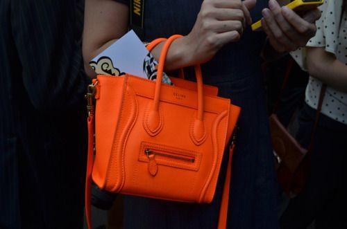 c6f7b5b7a3 this is amazing! mini celine bag in bright orange.
