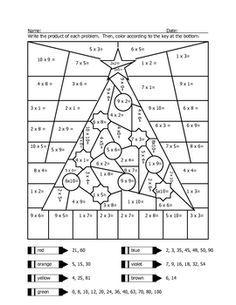 Christmas Tree Multiplication Coloring Sheet Christmas Math Worksheets Christmas Multiplication Worksheets Christmas Math