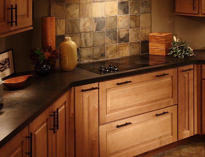 laminate countertops   Dark laminate counter maple kitchen ... on Maple Cabinets Black Countertops  id=82513