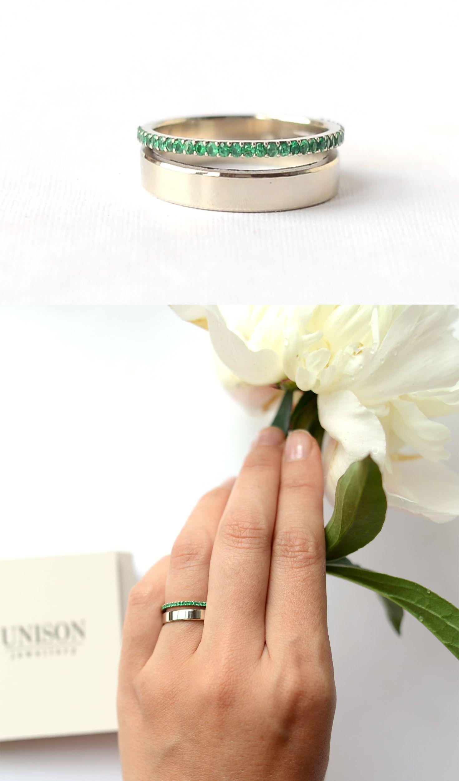 Кольцо с изумрудами из белого золота на заказ. Чудесное нежное воздушное колечко. 33 шт изумрудов. Можно поставить любые другие камни. Кольцо для неё. /Ring for her /girlfriends