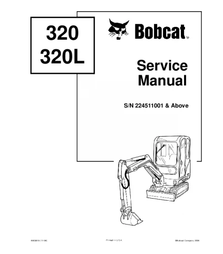 BOBCAT 320, 320L COMPACT EXCAVATOR SERVICE REPAIR MANUAL