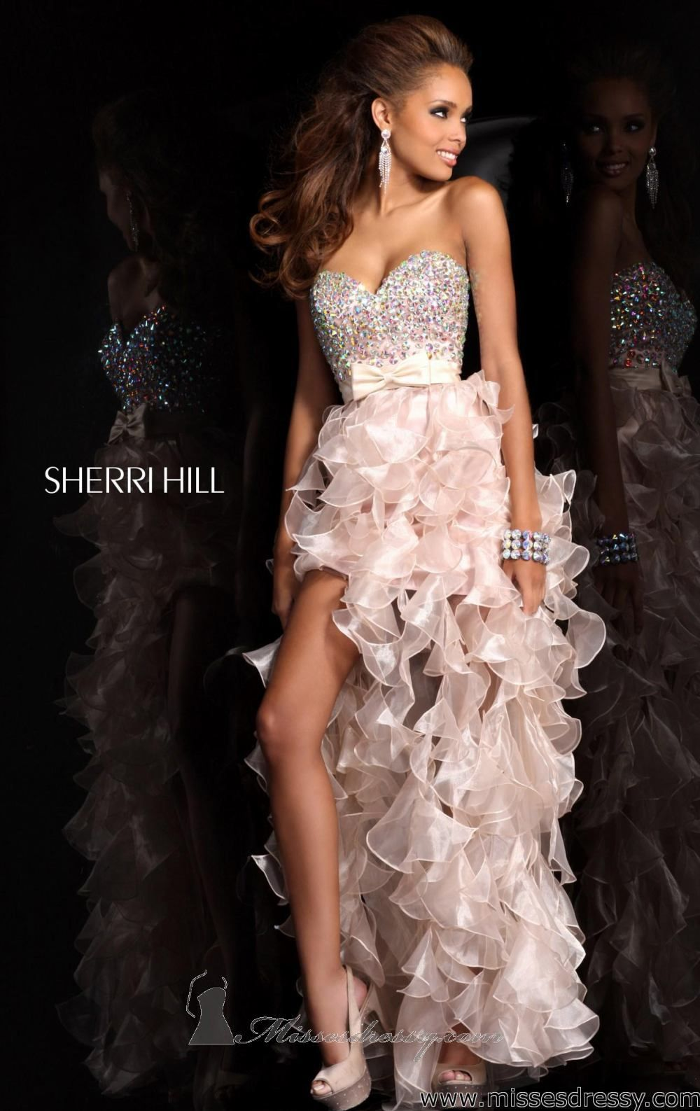 Hi lo ruffled dress by sherri hill vestiditos pinterest