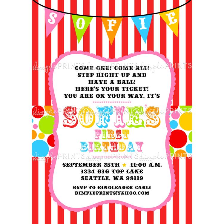 Circus Carnival Birthday Printable Invite - Dimple Prints Shop