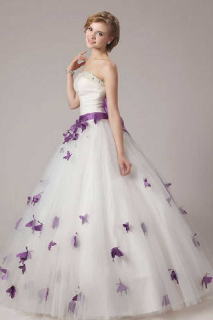 Wedding dresses with beading  Vintage Strapless White and Purple Wedding Dress Beading Backless