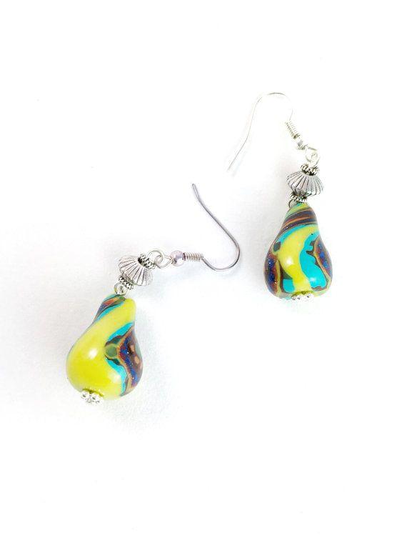 Bright Yellow Artisan Beaded Earrings Boho Hippie Earrings