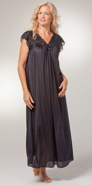 Shadowline Nightgowns - Silhouette Flutter Sleeves Long Gown in ...