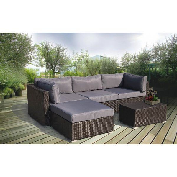 This Sleek And Elegant Excel Premium 5 Piece Sectional Seating Group With Cushions Comes With Thick Sea Outdoor Sofa Sets Conversation Set Patio Lounge Seating