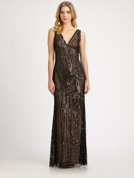 fc179fa40a8 Aidan Mattox Sequindetail Gown in Gold (black) - Lyst