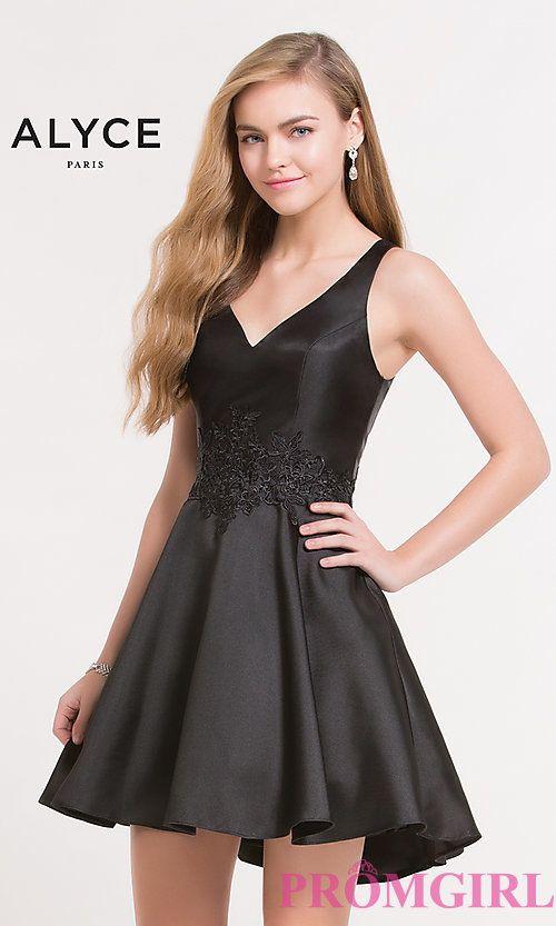 V-Neck Homecoming Dress by Alyce
