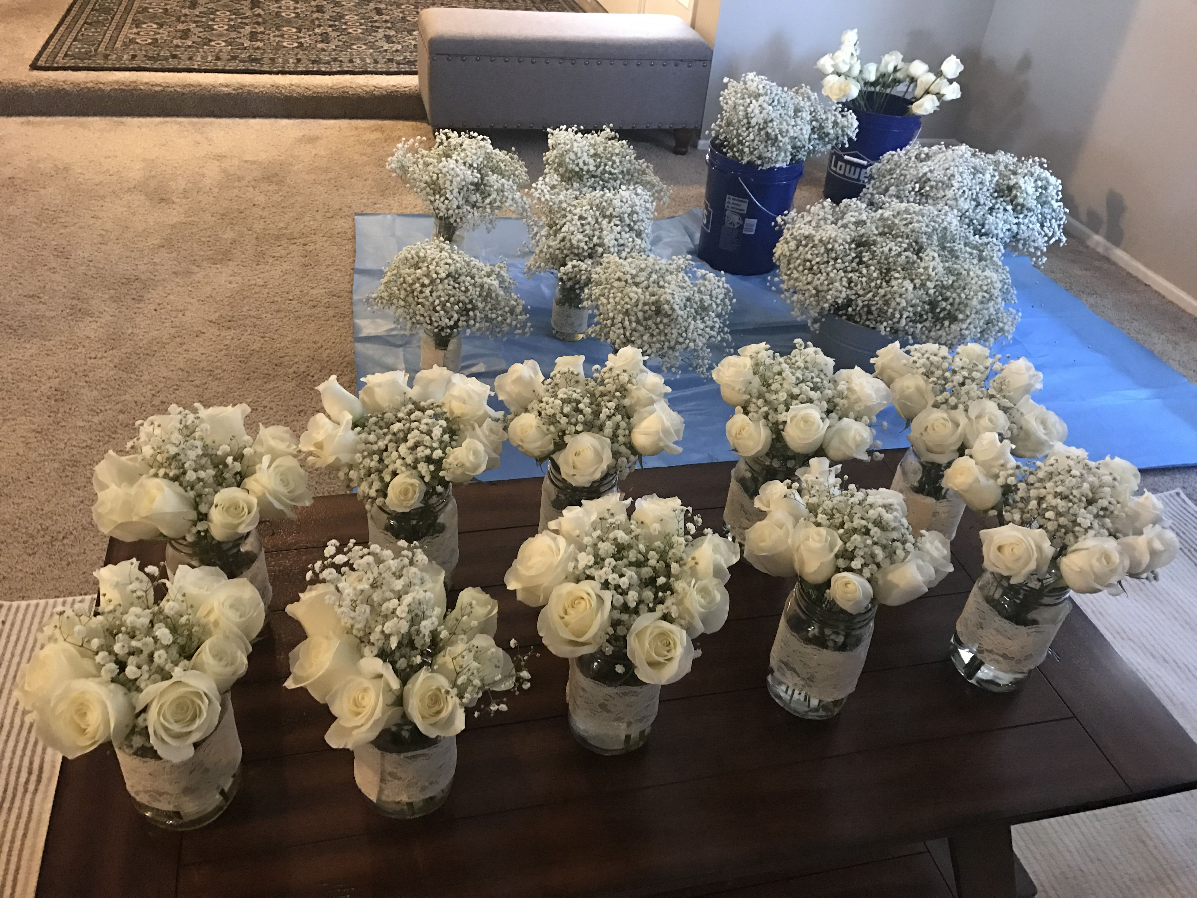DIY Wedding Flowers Beautiful costco roses and babys breath Mason jars from WallMart 24