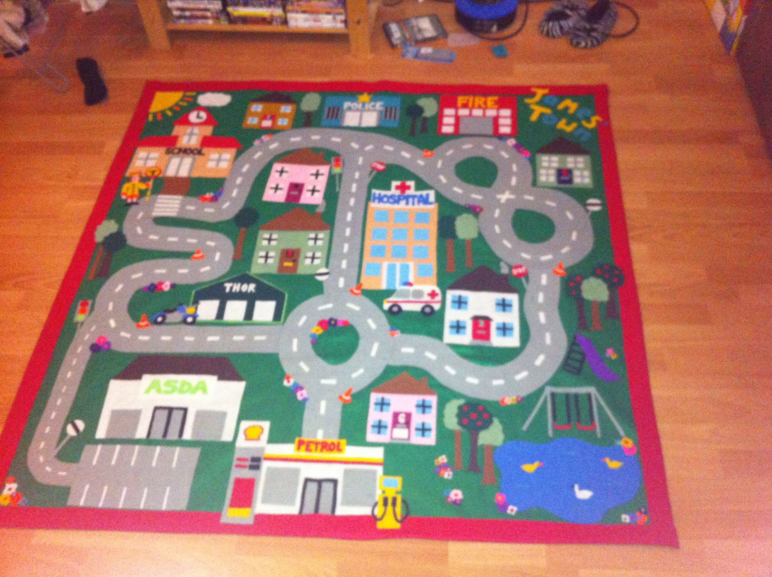 Tissus Circuit Voiture Handmade Felt Car Play Mat A Special Present For My Nephews 1st