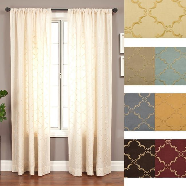 Medici Trellis Embroidered 108 Inch Curtain Panel 55 X 108