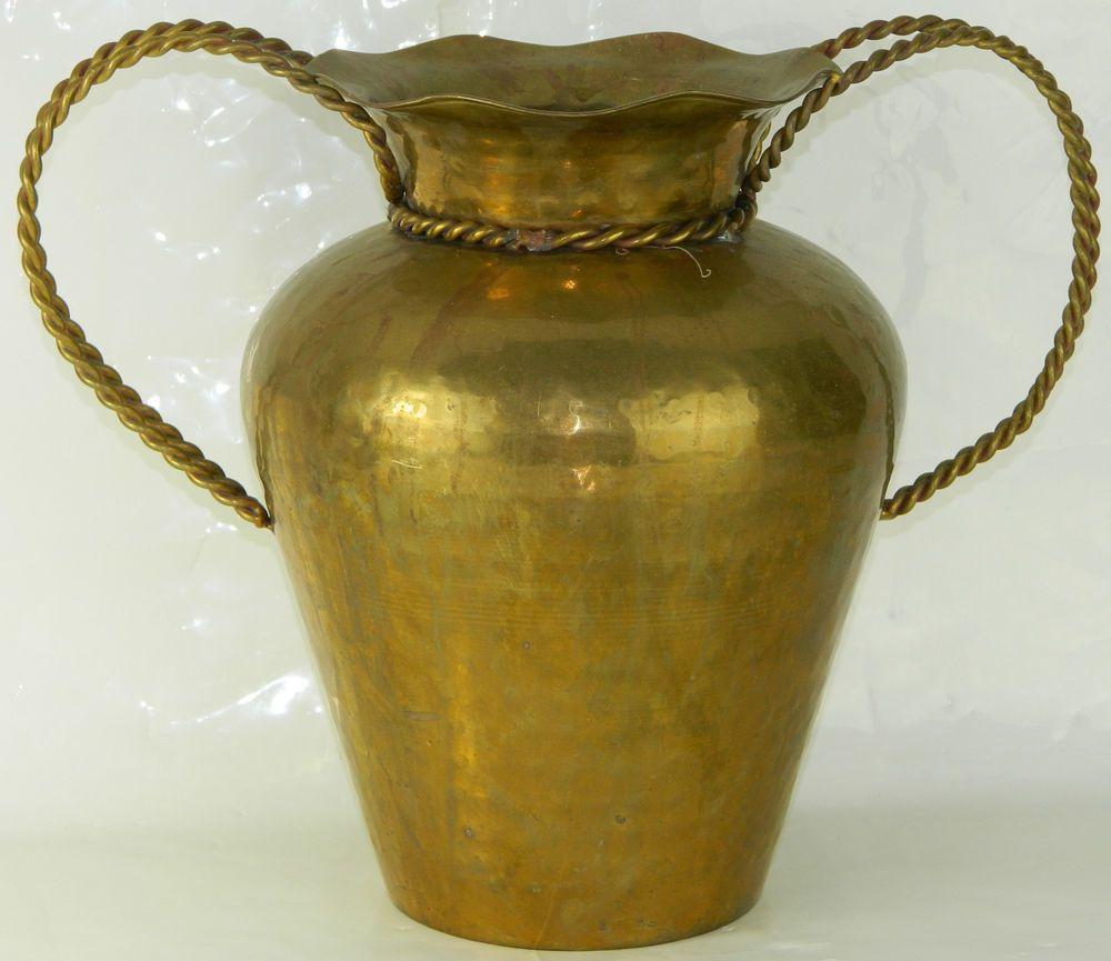 Large 11 hammered brass flower pot vase planter twisted rope large 11 hammered brass flower pot vase planter twisted rope handles vtg 2 reviewsmspy