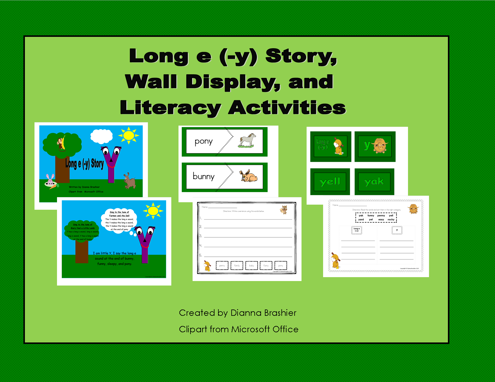 Long E Y Ey And Y Literacy Activities Bundled With
