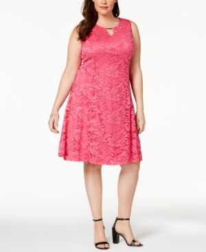 6a7179d814ee Jm Collection Plus Size Lace Keyhole Dress, Created for Macy's - Pink 0X