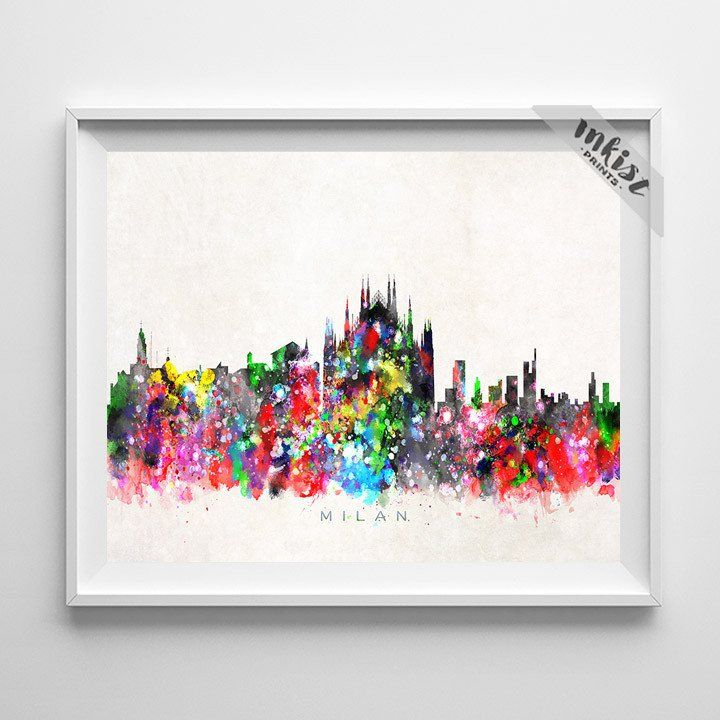 Paris Watercolour City Skyline Wall Art Print Poster Home Decor Picture