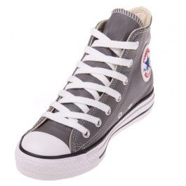 fd1a8c0a5e7 The Converse Chuck Taylor All Star Leather Charcoal Hi Top shoe features a  stylish charcoal leather