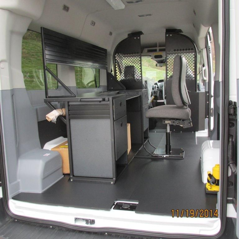 A Completed Upfit Package With An Ergonomic Solutions Mobile Office Vango Desk Chair And Sliding Chair Base In The Ba Mobile Office Van Interior Ford Transit