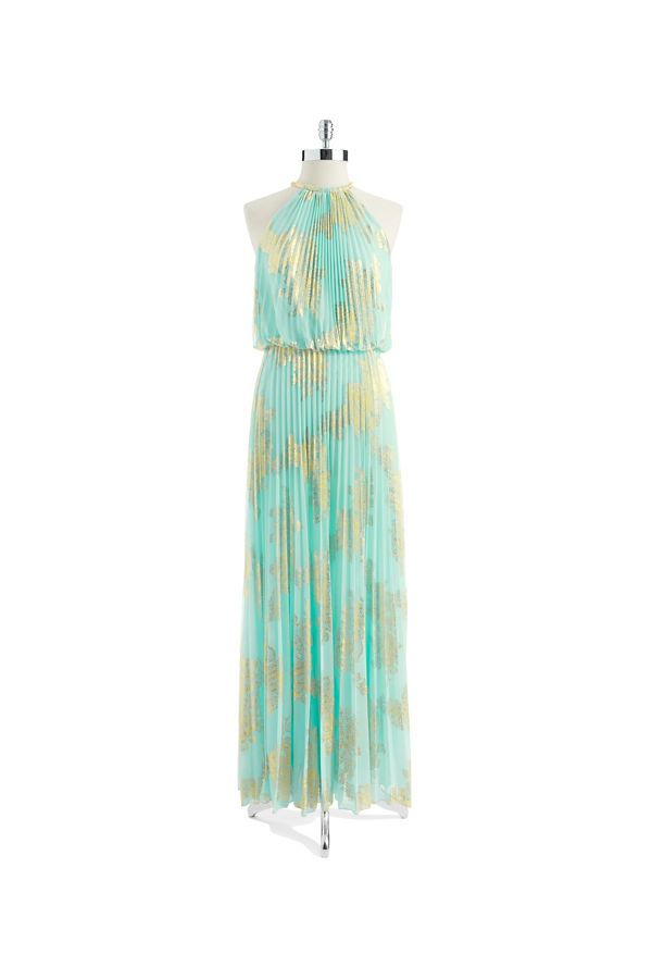 Xscape Petite Pleated Halter Top Gown Aqua/Gold | ! ♥ Fashion ...