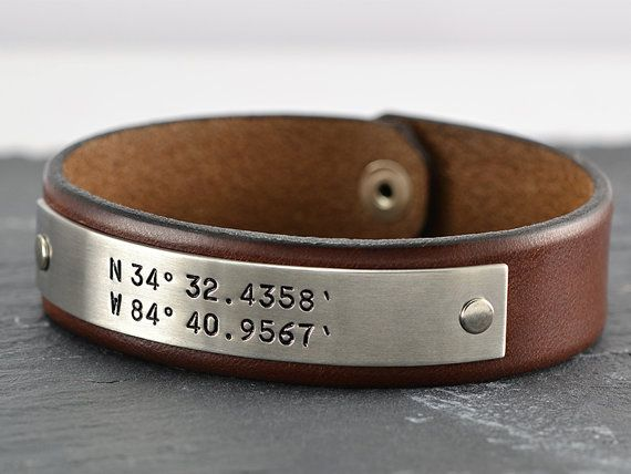 3rd Anniversary Gift Idea For Men Personalized Laude Longitude Gps Leather Bracelet Grooms Groomsmen Hand Crafted In Usa