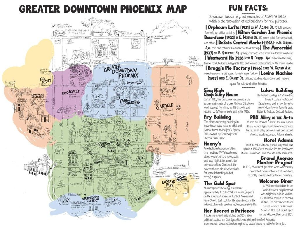 Scorpions In Arizona Map 10 Downtown Phoenix Fun Facts (And a Whimsical New Map, Too (With