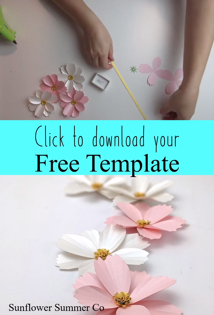 Easy Paper Flower Template and Tutorial- Cosmos