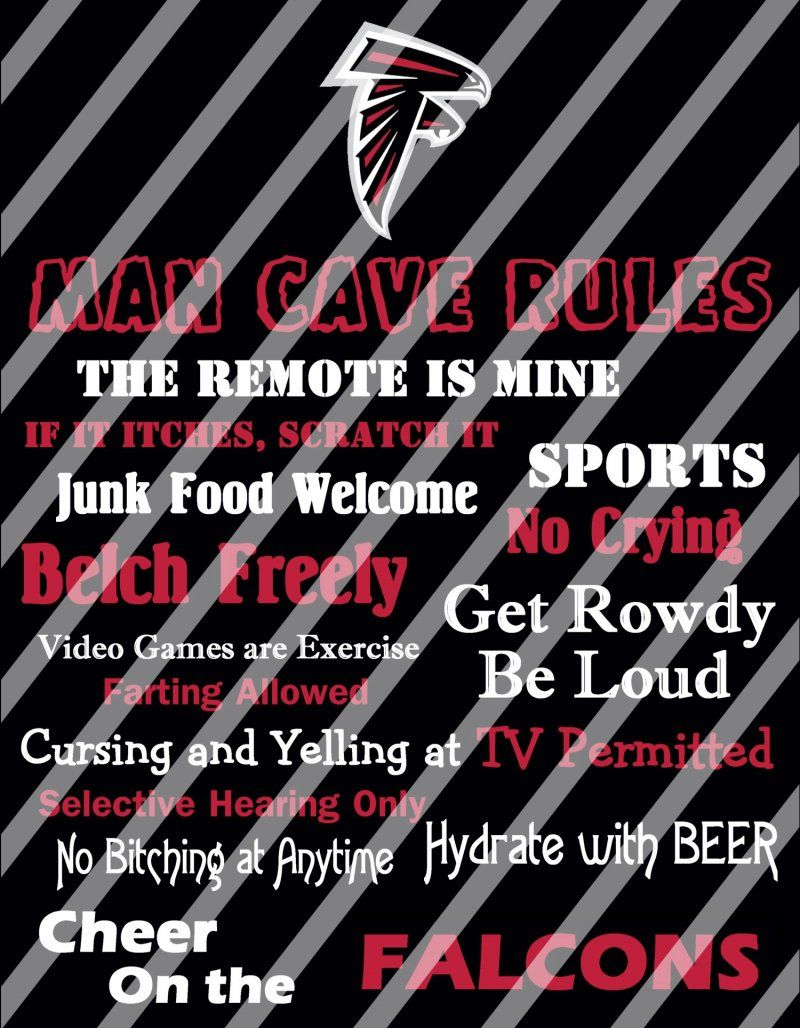 Atlanta Falcons Man Cave Rules Wall Decor Sign Digital Or Photo Print Atlanta Falcons Man Cave Man Cave Rules Family Rules