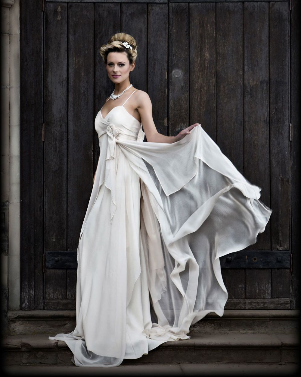Soft light and ethereal silk chiffon dress with floating panels