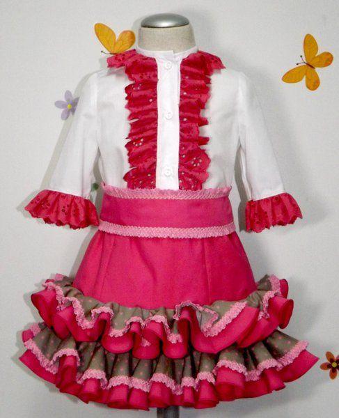 Conjunto rociero falda y camisa para niña. Traje de gitana flamenca para  niña realizado a mano realizado a mano por nuestras propias modistas. 62d60d29088