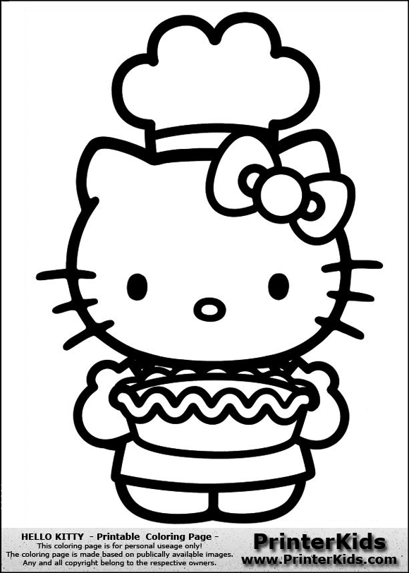 hello kitty chef coloring page | Party - Hello Kitty | Pinterest ...