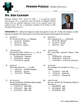 Periodic Table Families Worksheet Excel Person Puzzle  Ordering Decimals  Ben Carson Worksheet  Coordinating And Subordinating Conjunctions Worksheets with Create Your Own Vocabulary Worksheets Word Person Puzzle  Ordering Decimals  Ben Carson Worksheet Ordering Integers Worksheet Pdf