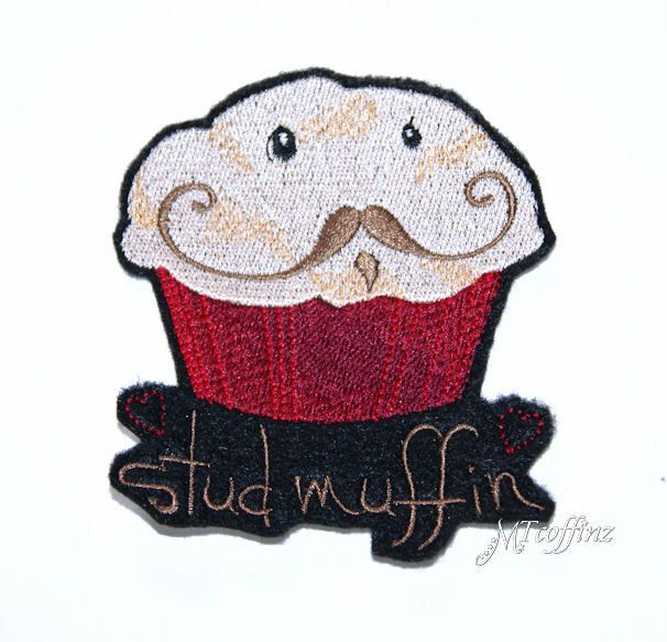 Stud Muffin Hipster Mustache Cupcake Iron On Embroidery Patch MTCoffinz by MTthreadz on Etsy https://www.etsy.com/listing/108149268/stud-muffin-hipster-mustache-cupcake