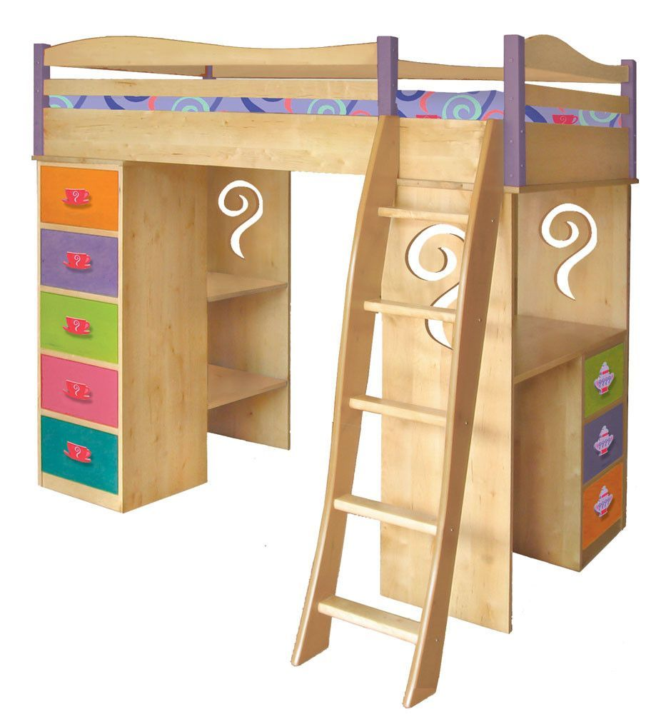 Boys loft bed with desk  Girl Tea Set Loft Magic  Products  Pinterest  Products