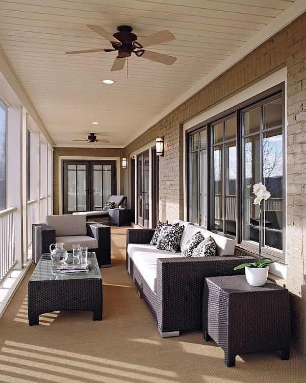 Enclosed Porch Decorating Ideas: Long And Narrow Room Optimised To Utilise Windows And