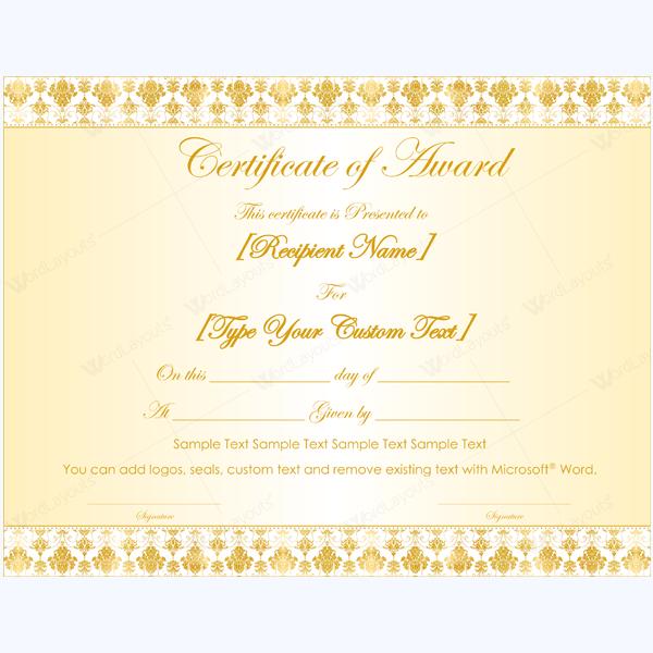Blank Award Certificate Template  Award Certificate Templates