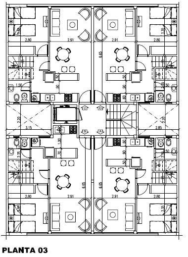 Planta tres deptos pinterest edificios apartamentos for Edificio de departamentos planos