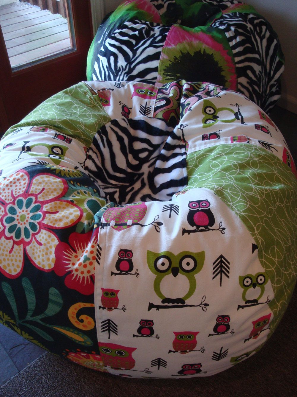 Funky Retro Owls Floral And Zebra Bean Bag Chair Di Paniolo