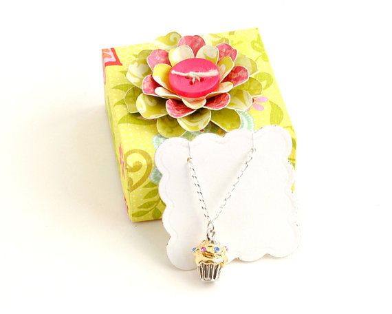 CUPCAKE Necklace on Sterling Silver Chain in an ORIGAMI Gift BOX