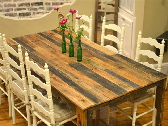 10 ideas de mesas de comedor hechas con palets Mesa de comedor