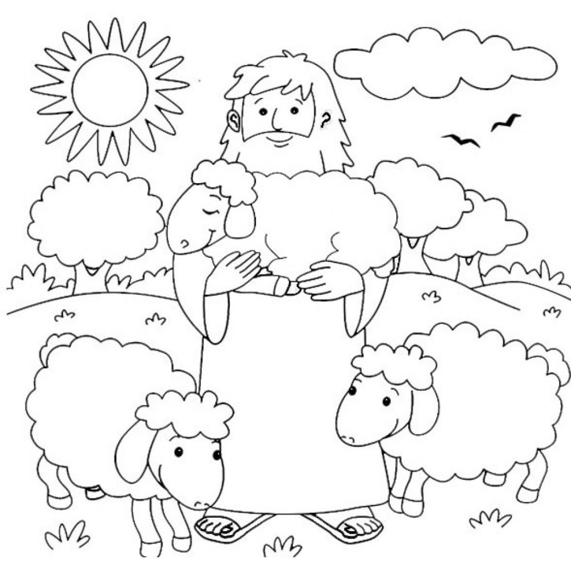 The Good Shepherd Coloring Page With
