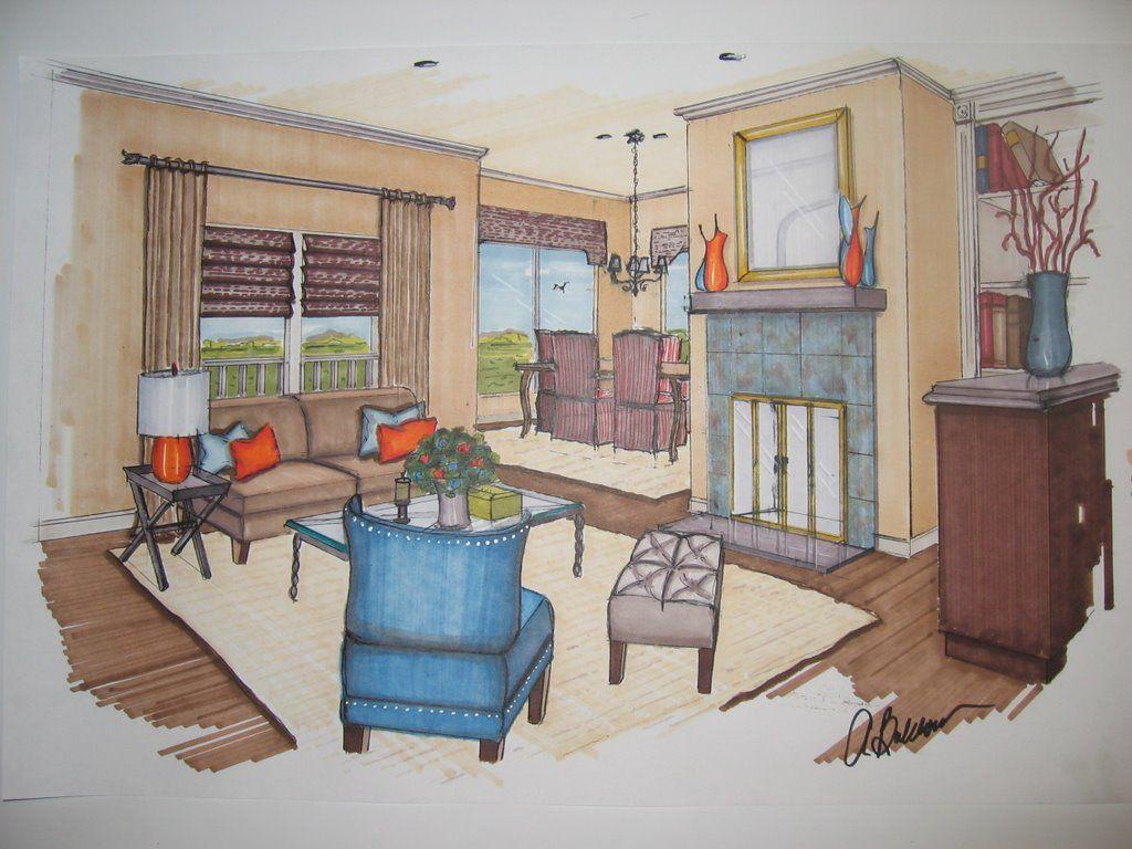 Interior Design Marker Rendering Interior Design Drawings