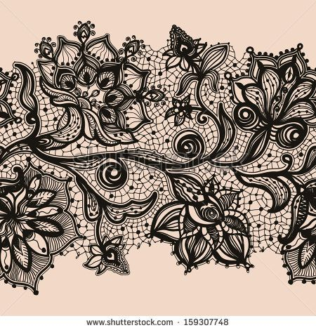 abstract lace ribbon seamless pattern with elements flowers by rh pinterest com lace design tattoo lace pattern leg tattoo