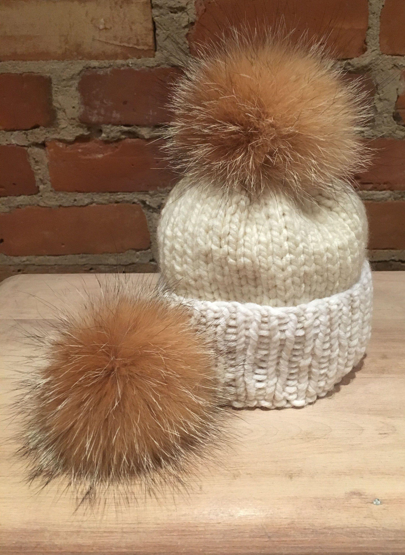 1b913e22ac3046 Small Crystal Fox Pom, 3.5-Inch Pom, Baby Knit Hat Pom, Winter Accessory,  Detachable, Gold Pom Pom, Beige Fur Ball, Real Fur, Recycled Fur by  ElleVintage369 ...
