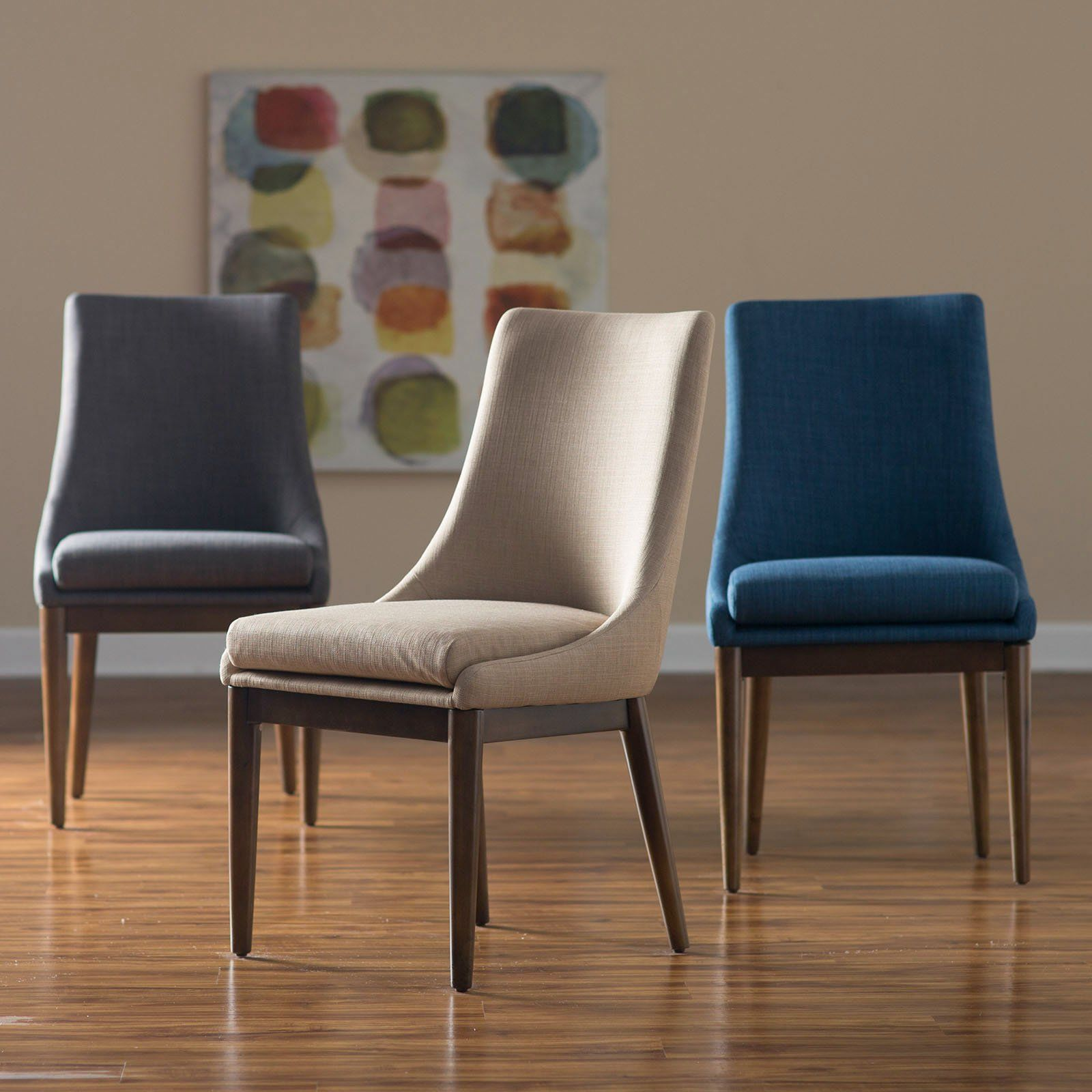 Belham living carter mid century modern upholstered dining chair set of 2 from hayneedle com