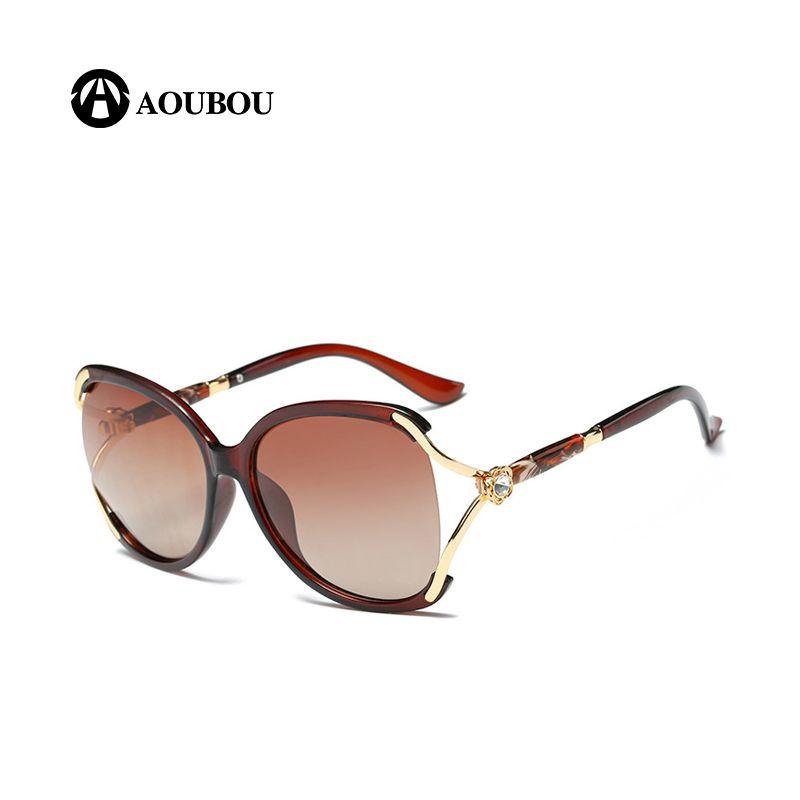 d1c4f3e03e AOUBOU Top Brand Hollow Diamond Large Frame Elegant Ladies Polarized  Sunglasses Oculos De Sol Driving Mas