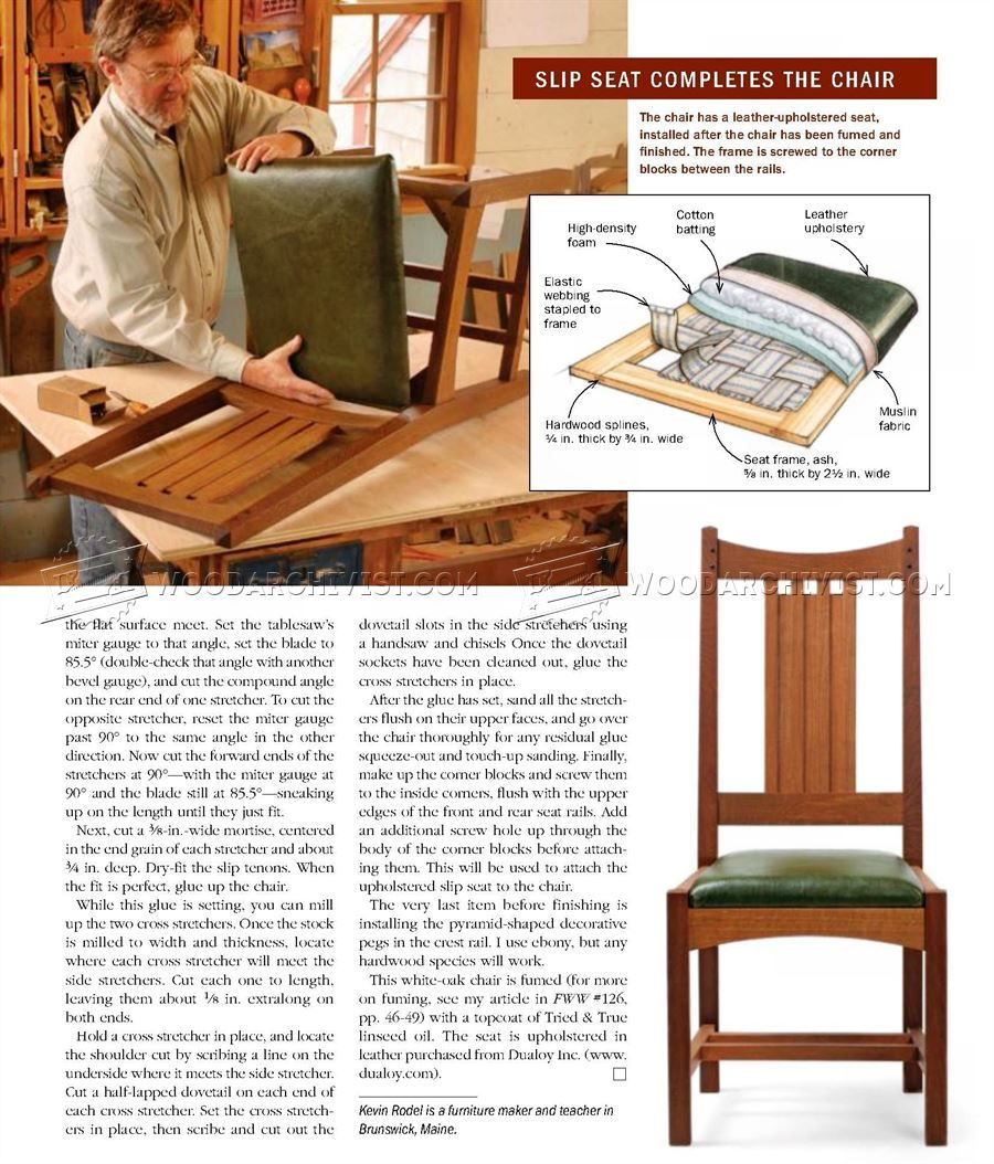 559 Arts And Crafts Side Chair Plans Furniture