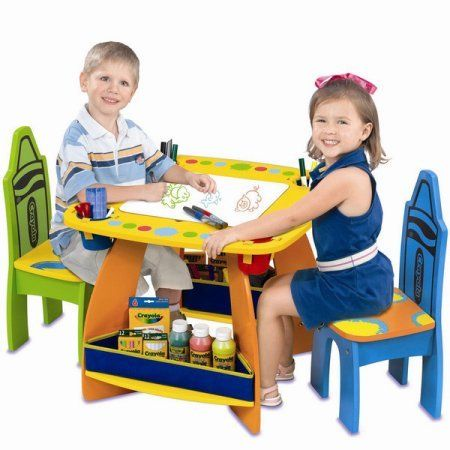 Grow N Up Colorful Crayola Wooden Table Chair Set with Storage and Reversible Chalkboard Top *  sc 1 st  Pinterest & Grow N Up Colorful Crayola Wooden Table Chair Set with Storage and ...