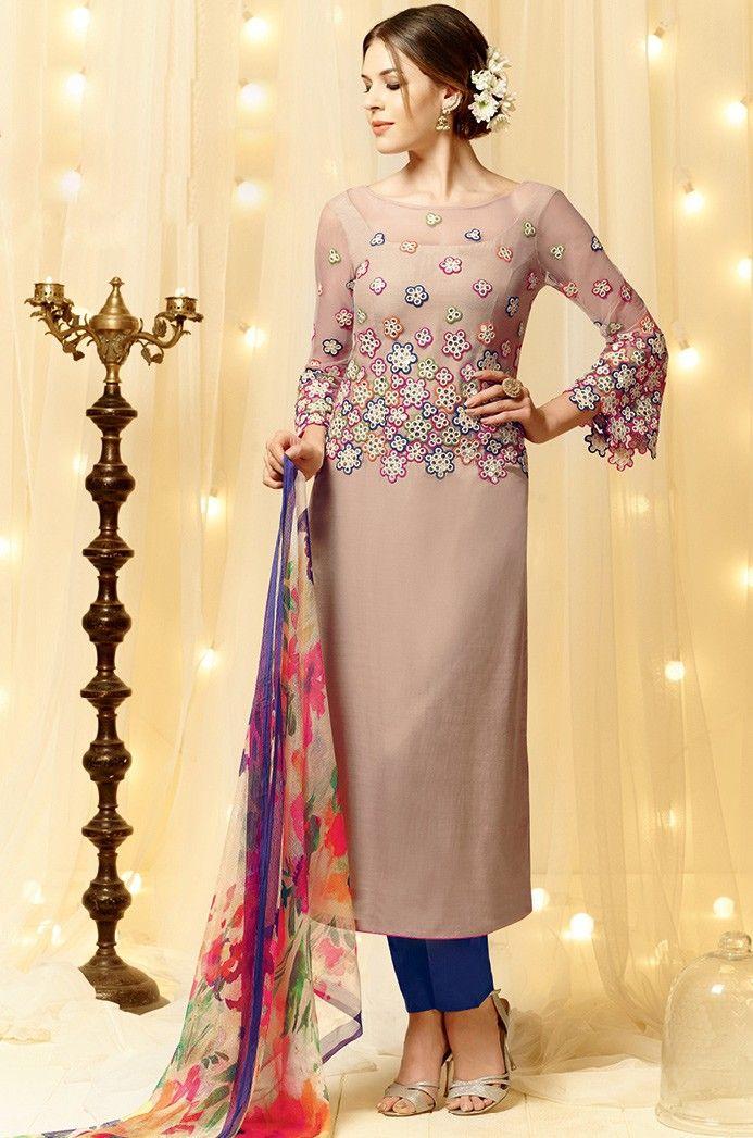 87f8654adb Pink Satin Narrow Pant Suit with Dupatta - SALWAR KAMEEZ - Women ...